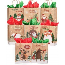 TOMNK 32 Christmas Bags Kraft Bags Bulk Medium Goody Bags with Scratch Paper and Tissue Paper for Party Favors, Wrapping, Holiday Treat Box