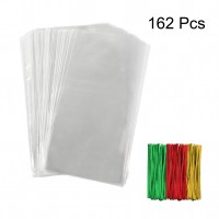 TOMNK Transparent Cellophane Bags 162 Pieces Treat Bags with Twist Ties for Holiday Goody, Party Favors, Cello Candy Bags and Gifts