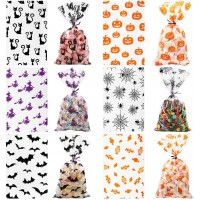 TOMNK Halloween Cellophane Bags 162 Pieces Treat Bags with Twist Ties for Holiday Goody, Party Favors, Cello Candy Bags and Gifts