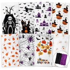 TOMNK Halloween Cellophane Bags 160 Pieces Treat Bags with Twist Ties for Holiday Goody, Party Favors, Cello Candy Bags and Gifts