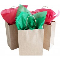 TOMNK 32 Gift Bags Kraft Gift Bags Bulk Small Goody Bags with Tissue Paper for Party Favors, Wrapping Presents, Holiday Treat Box