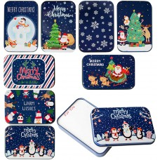 """TOMNK 8 Dark Blue Christmas Card Tin Holder Boxes 4.9"""" x 3.3"""" x 0.7"""" for Party Favors and Card"""