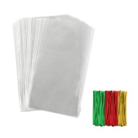 TOMNK Transparent Cellophane Bags 168 Pieces Treat Bags with Twist Ties for Holiday Goody, Party Favors, Cello Candy Bags and Gifts